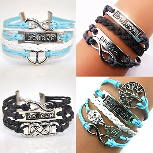 ACUNION™ Handmade Believe Dream Wish Tree Owls Cross Charm Friendship Gift Fashion Jewelry Leather Bracelet for Women (4 Pieces/lot)