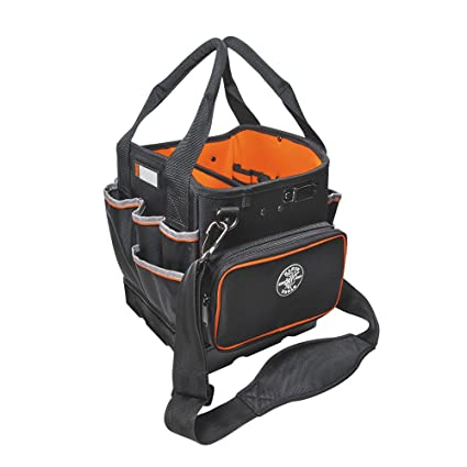 e607ae98faaf Tool Bag with Shoulder Strap Has 40 Pockets for Tool Storage and Orange  Interior Klein Tools 5541610-14