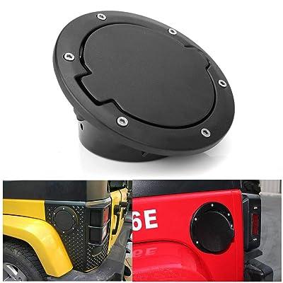 Jeep Gas Cap Cover,Athiry Aluminum&ABS Black Gas Cover Fuel Filler Gas Tank Cap Upgrade Fuel Door for Jeep Wrangler JK/JKU 2D/4D 2007-2020: Automotive