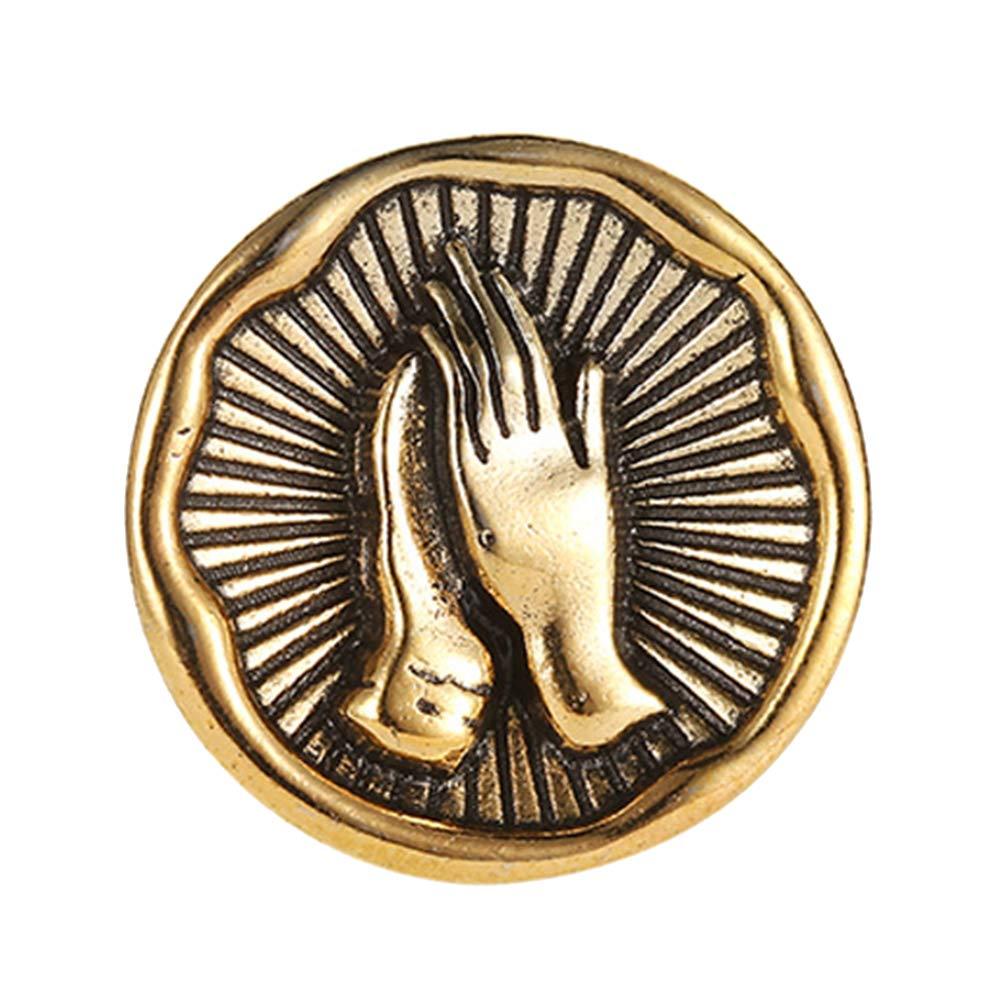 ink2055 Vintage Praying Hands Alloy Brooch Pin Badge for Hat Collar Coat Jeans Brooches Jewelry Badge Gift - Golden