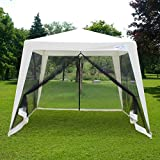 Quictent 10'x10'/7.9'x7.9′ Outdoor Trapezoid Canopy Party tent Gazebo Screen House Sun Shade Shelter with Fully Enclosed Black Mesh Side Wall Beige
