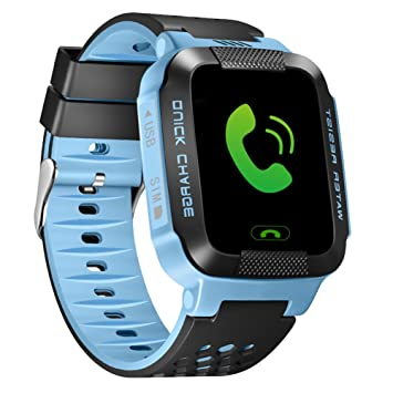 per Montre Connectée Smartwatch Enfant GPS Tracker Montre Intelligente Bracelet-Montre avec Lampe de Poche