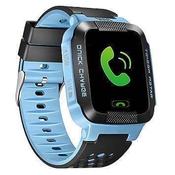 per Montre Connectée Smartwatch Enfant GPS Tracker Montre Intelligente Bracelet-Montre avec Lampe de Poche