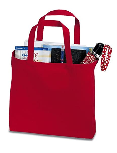 7f3a708bc76 (6 Pack) 6 Pack Heavy Cotton Denim Convention Reusable Tote Bag (Red)