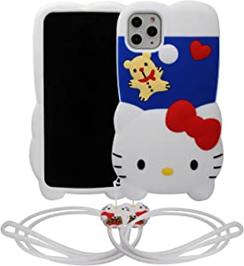 "Phenix Color Cartoon Case for iPhone 11 Pro 5.8"", 3D Cute Soft Silicone Rubber Protective Gel Back Cover with Detachable Necklace,Animated for Kids Girls (Hello Kitty, iPhone 11 Pro 5.8"")"