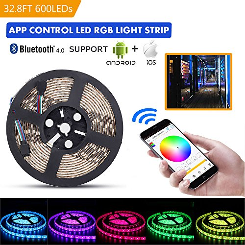 Clip 600 (sanwo LED light Strip Kit, 32.8Ft RGB 600 Leds Waterproof App Strip Lights with 24V Power Supply, Bluetooth Controller and Rope Light Fixing Clips, Supply for Indoor, IOS and Android)