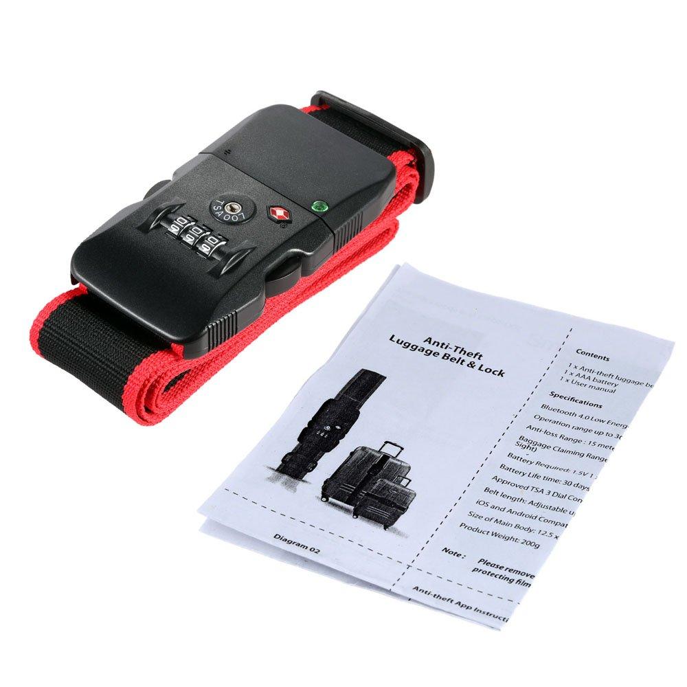 Bluetooth 4.0 Antirrobo Cierre TSA Combinado de Fleje de Equipaje Correa  Aprobada: Amazon.es: Hogar