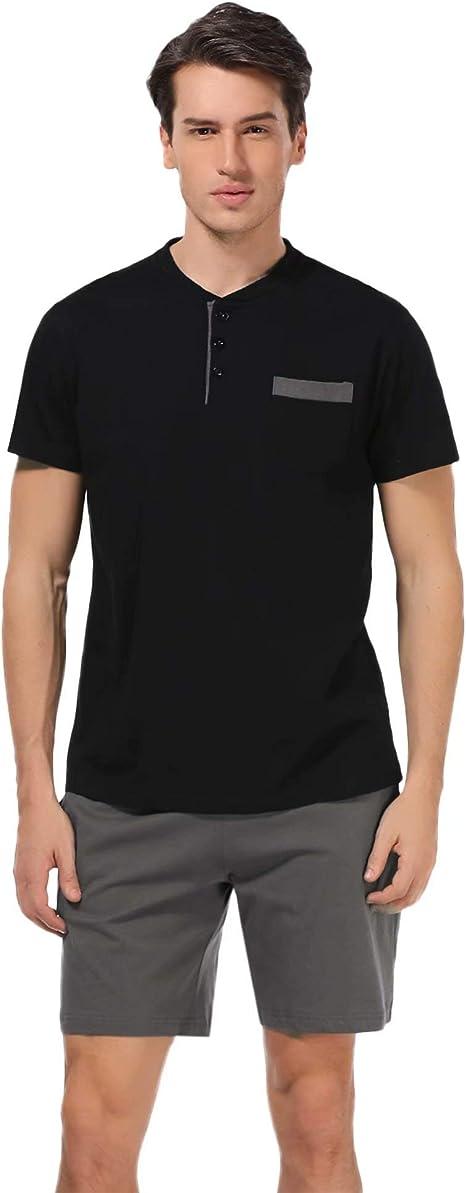 Mens Pajamas Short Top Nightwear Sleepwear Loungewear T-Shirt Summer