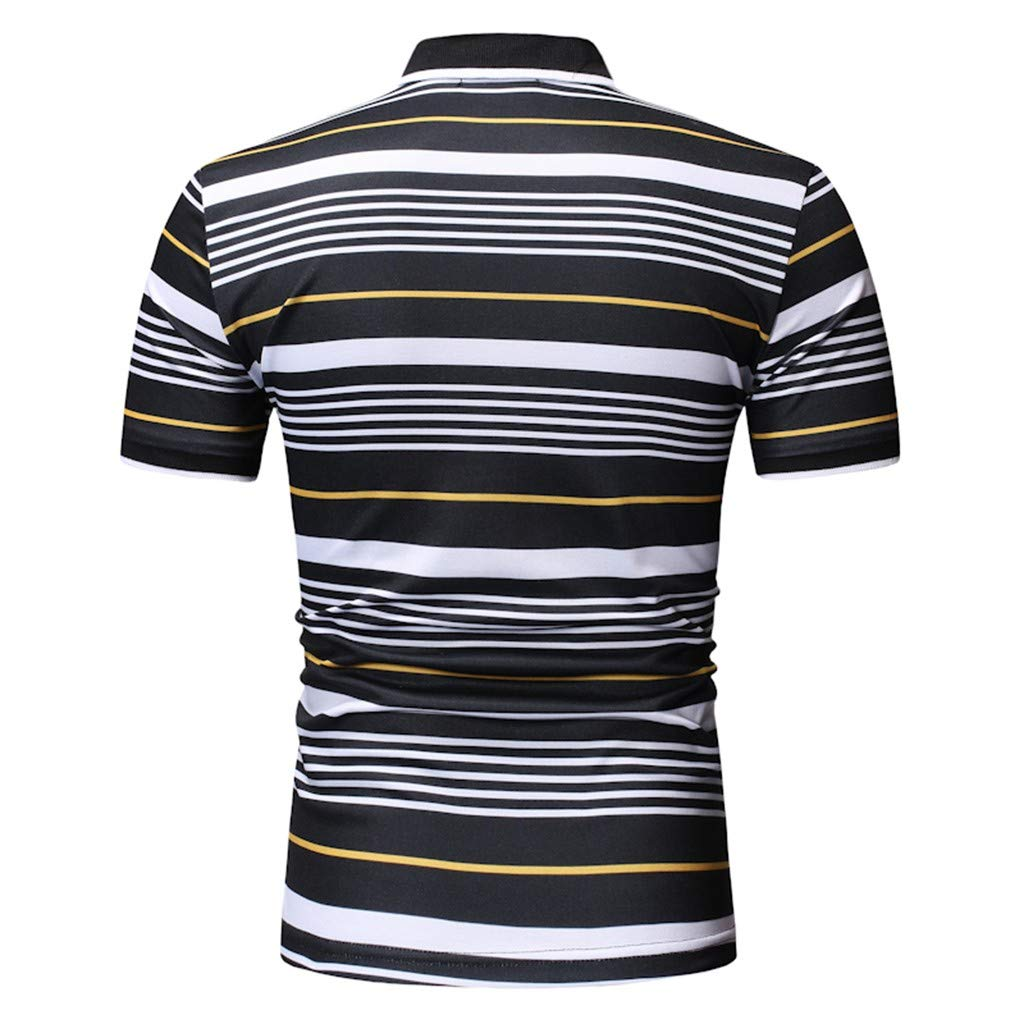 SFE Mens Spring Stand Collar Short Sleeve Button Slim Top Casual Party Holiday Summer Fashion New 2019