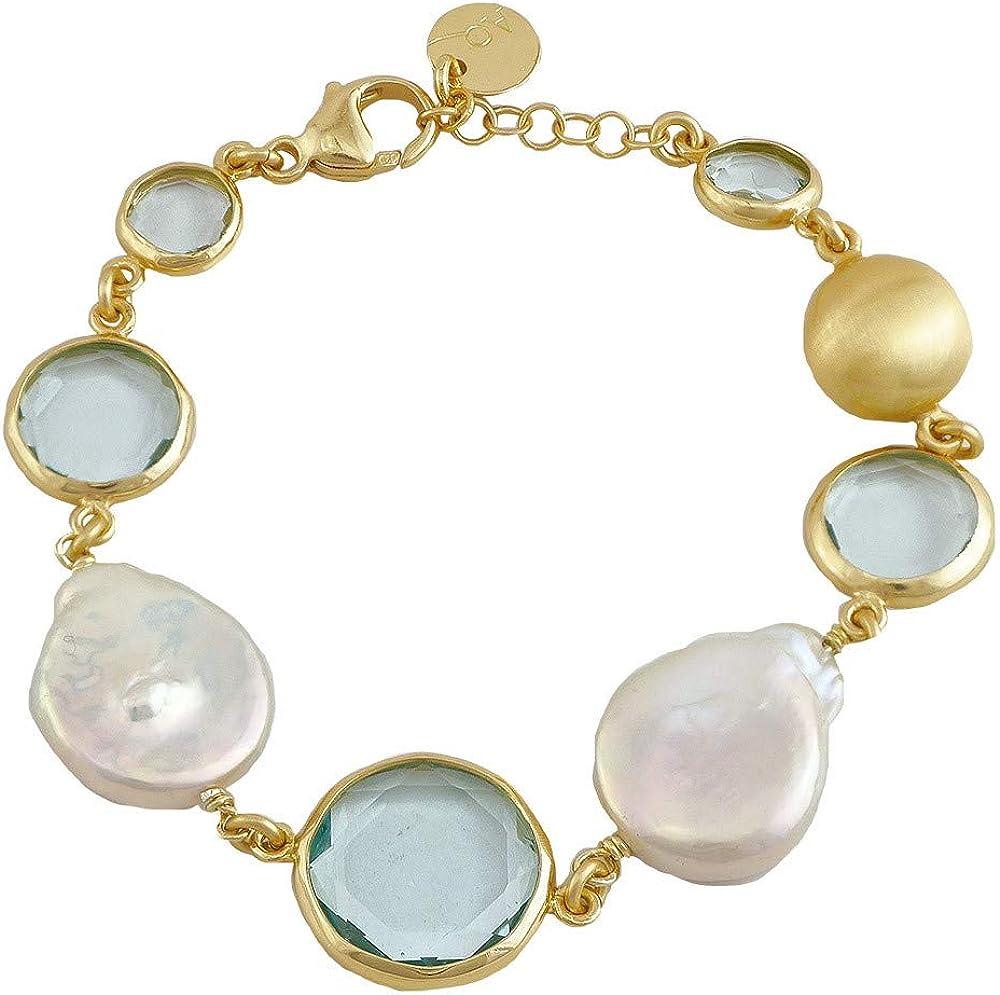 Pulsera Aquaforte de plata y oro con perlas de río y pasta de cristal celeste para mujer WTLZSFM