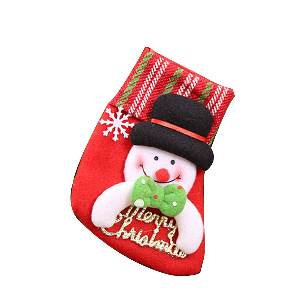 YaptheS Mini Christmas Stockings Little Christmas Stockings Gift and Treat Bags Christmas Hanging Socks for Xmas Tree, Home, Garden Decor (Snowman Style) Christmas Gift