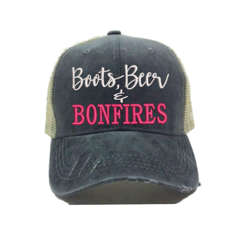 Custom Distressed Trucker Hat''Boots, Beer & Bonfires'' Funny Party Drinking Baseball Cap Dad Hat (Black/Khaki - Hot Pink)
