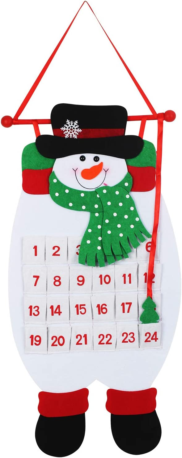 MEZOOM Christmas Advent Hanging Calendar Xmas Felt Snowman Countdown Calendar with 24 Pockets for Kids Gifts Wall Door Hanging Decoration Christmas Home Office Holiday Decor