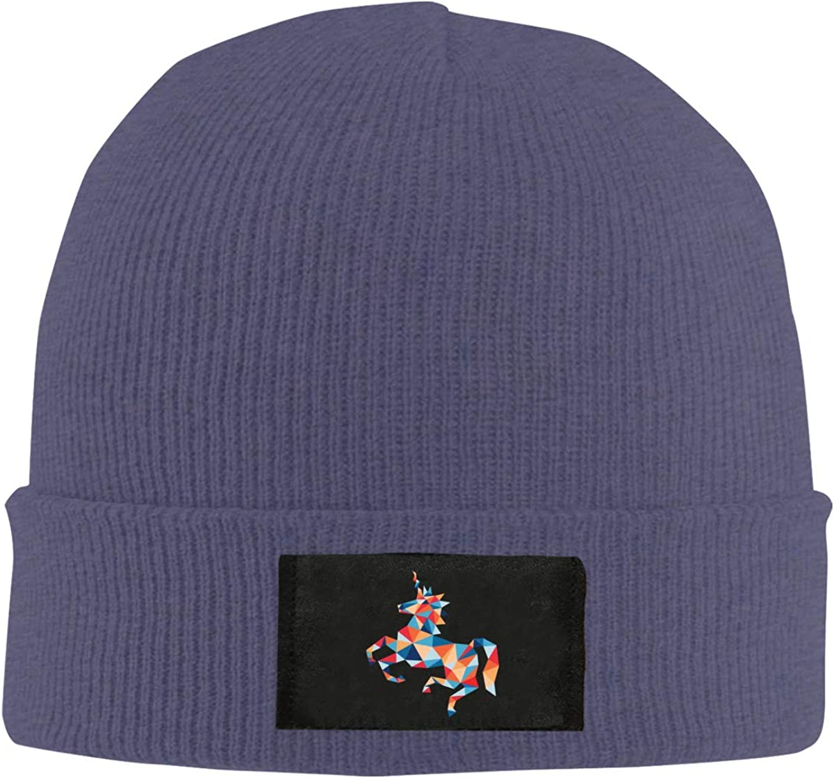 Colored Unicorn Unisex Top Level Beanie Men Women Unisex Stylish Slouch Beanie Hats Black