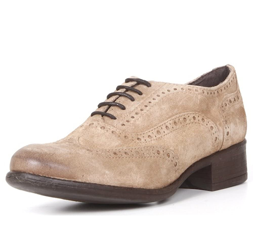 los angeles 5cbbf d989b Manas Womens Beige Brown Leather Suede Classic Shoes Ladies Flat Lace Up  Brogues