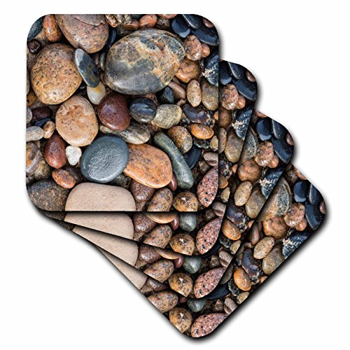 3dRose Danita Delimont - Patterns - Smooth granite pebbles, Lake Superior, Whitefish Point, Michigan - set of 4 Coasters - Soft (cst_279076_1)