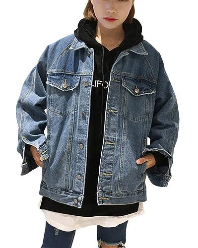 Mujeres Casual Suelto Chaquetas Jacket De Mezclilla Abrigo Denim Jacket