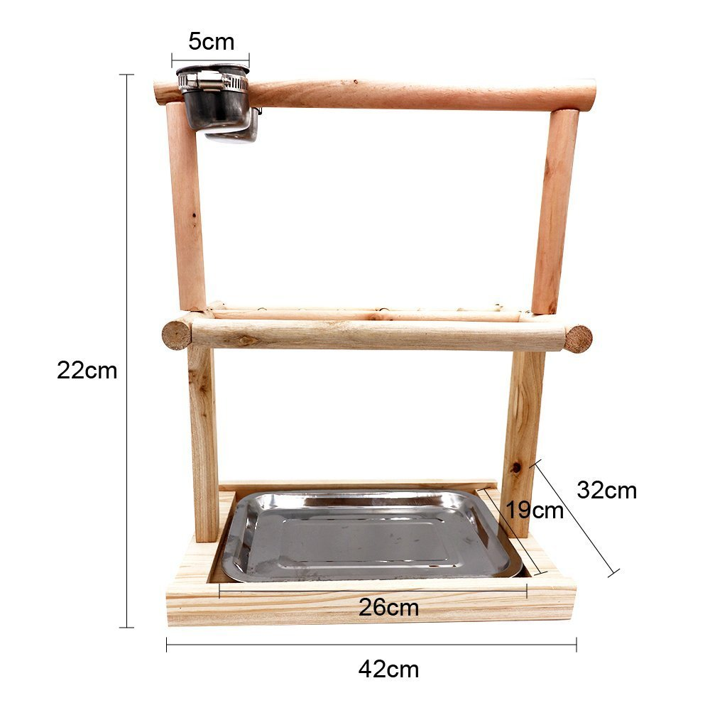 Mrli Pet Parrots Playstand Bird Playground Wood Perch Gym Stand Playpen Bird Ladders Exercise Playgym for Electus Cockatoo Parakeet Conure Cockatiel Cage Accessories Exercise Toy (Include A Tray) by Mrli Pet (Image #2)