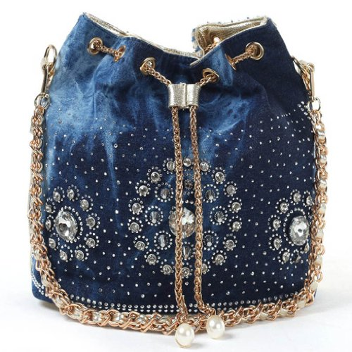 Kaxidy Denim Bag Satchel School Bag Messenger Bags Cowboy Jean Shoulder Bag (denim Blue + Pu Gold) Ks62310
