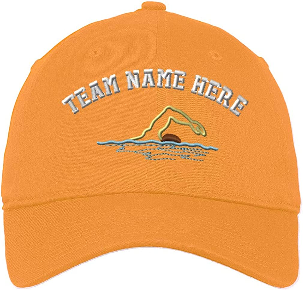 Custom Low/Profile/Soft Hat Swimmer Outline Embroidery Team Name Cotton Dad Hat