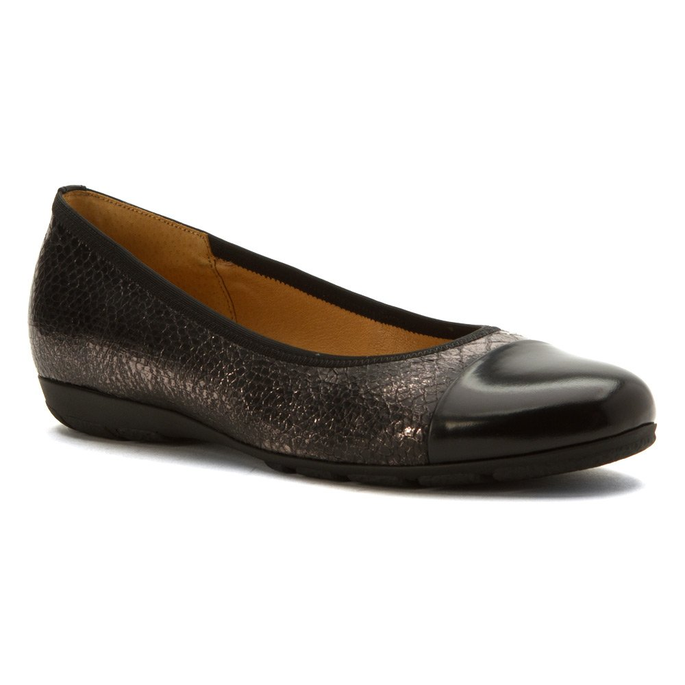 Gabor Women's 5.4161 Cap Toe Slip On Flats Shoes B01KDUDZAS 7 B UK / 9 B(M) US|Black Nappa/Croc Print Leather