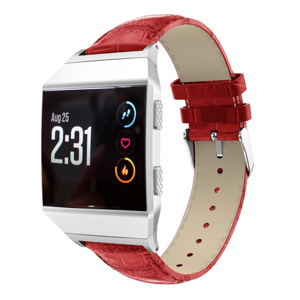 Fitbit Ionic帯、Liu Nianレザー交換リストブレスレットバンドfor Fitbit Ionic Smart Watch レッド レッド B076D6BVPY