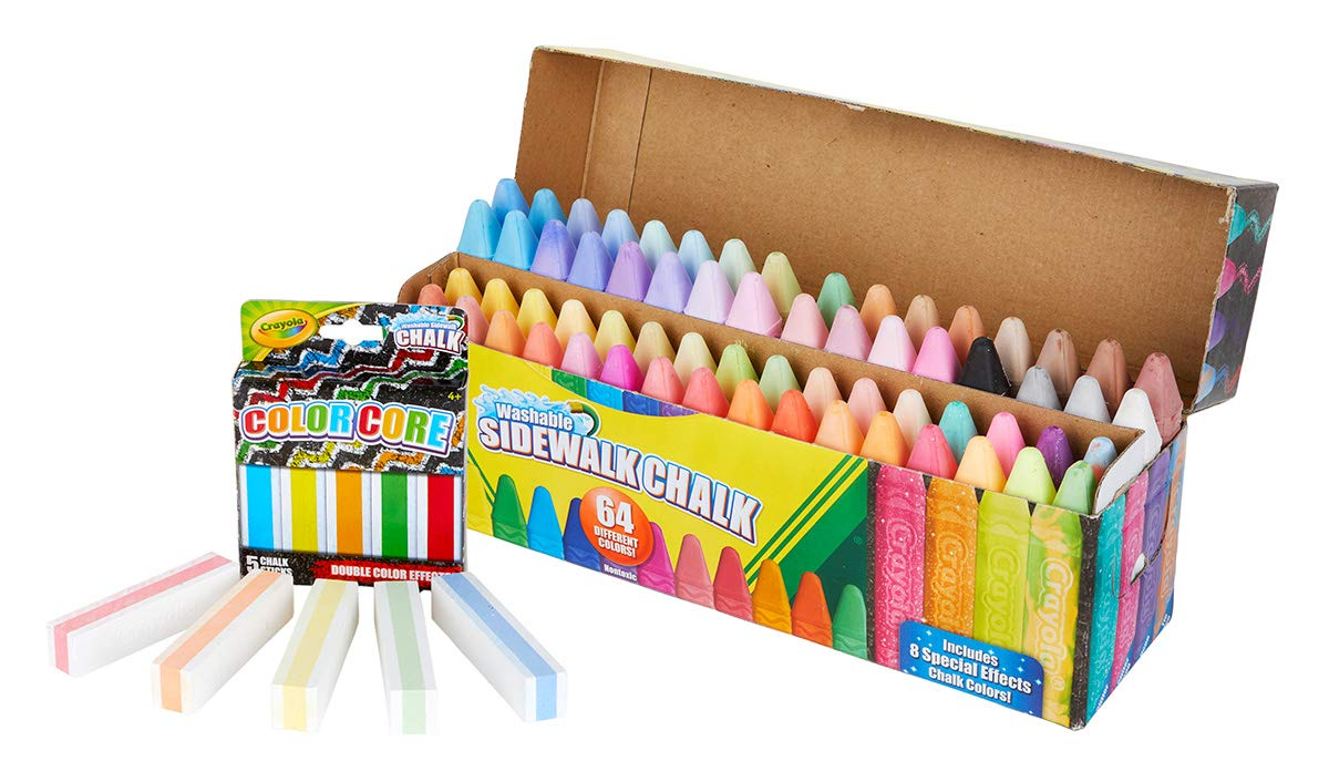 Gift for Kids 51-7000 Crayola 64Count Sidewalk Chalk Set with 5Count Color Core Exclusive Easter Basket Stuffers