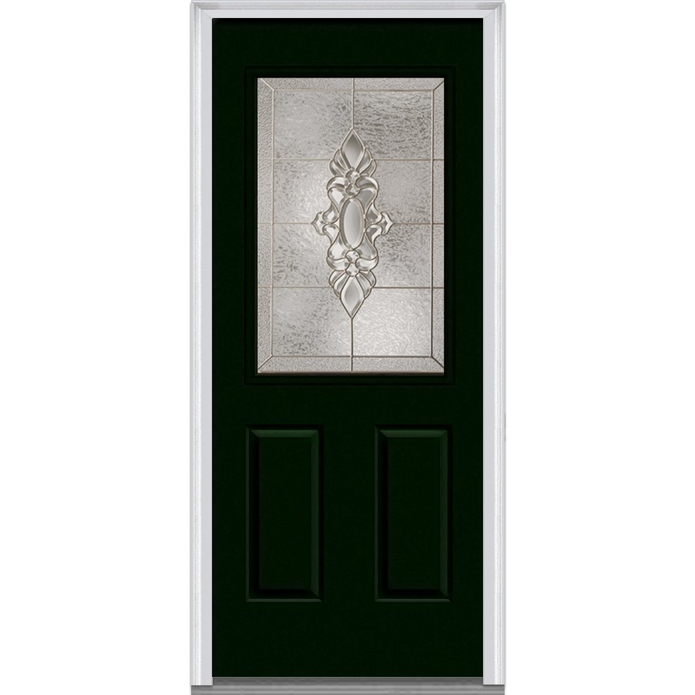 National Door Company Z004286R Steel, Hunter Green, Right Hand In-swing, Exterior Prehung Door, Heirloom Master 1/2 Lite 2-Panel, 36''x80''