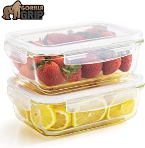 Gorilla Grip Original Premium Leakproof Glass Food Storage Canisters, 2 Pack 40 oz Size with Airtight Lids, Holds 5 Cups, Dishwasher Safe, Food Saver Container for Fridge, Meal Prep, Commercial Grade