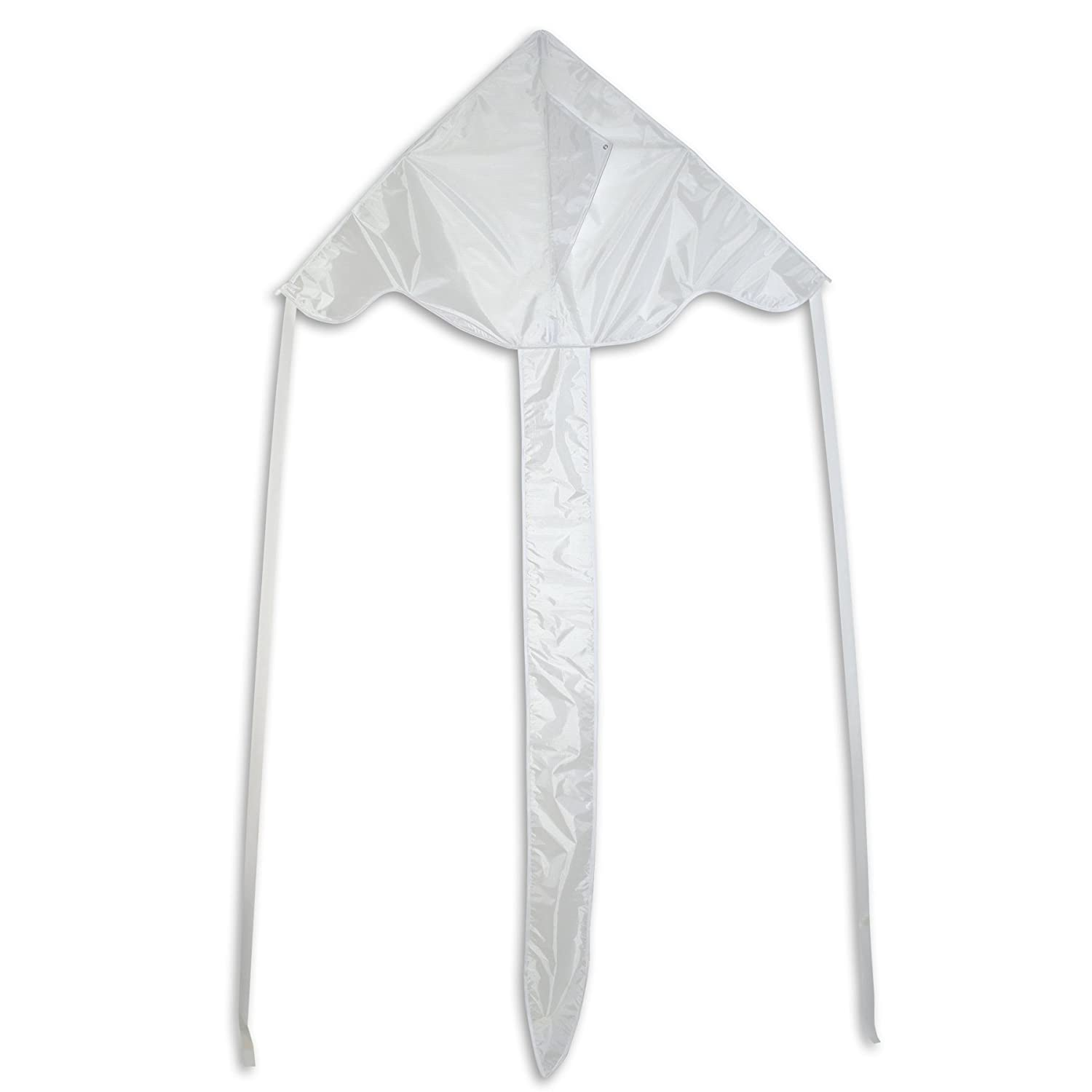 In the Breeze White 43 Inch Fly-Hi Kite - Single Line - Ripstop Fabric - Includes Kite Line and Bag 3214