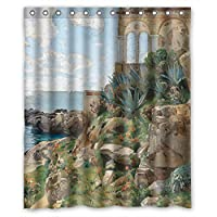 ZEEZON Width X Height / 60 X 72 Inches / W H 150 By 180 Cm Polyester Beautiful Scenery Landscape Painting Bathroom Curtains Fabric Is Fit For Mother Hotel Artwork Boys Kids Boys. Eco Fri