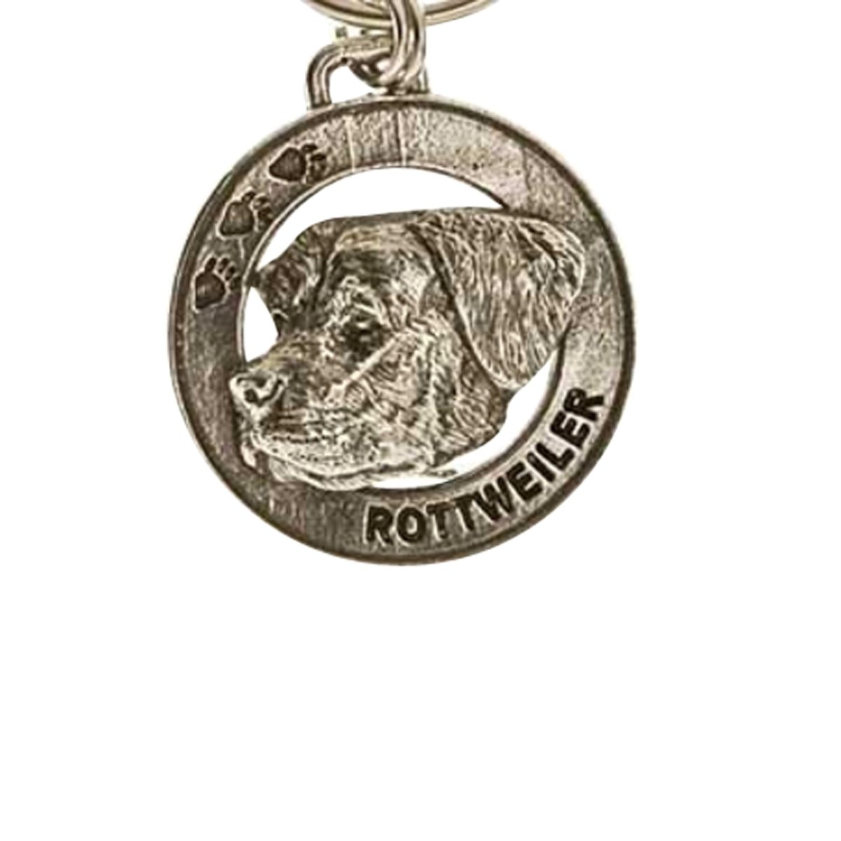 Creative Pewter Designs, Pewter Rottweiler Key Chain, Antiqued Finish, DK150