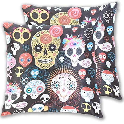 ow Pillows Covers Funny Sugar Skull Bohemian Style Cotton Velvet Square Pillow Slipcovers 20x20 Inch Double Sided,Set of 2 ()