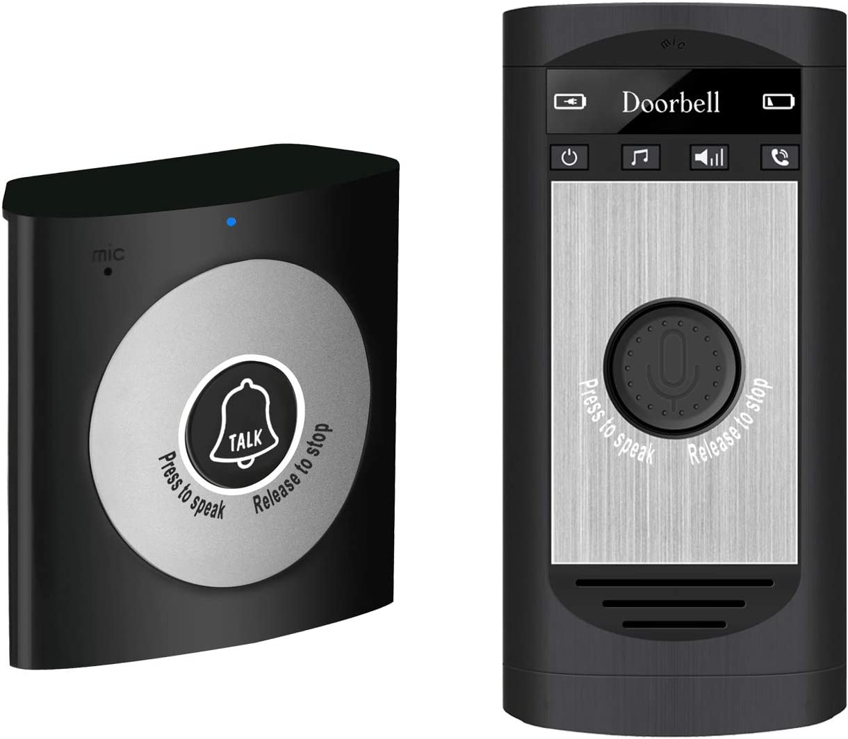 (2020 Updated) Wireless Doorbell for Home, Wireless Intercom Doorbell Support Two Way Voice Intercom for Home and Office, One Transmitter and One Receiver H7A Napok