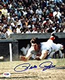 Reds Pete Rose Signed Authentic 8X10 Photo Diving Home Autographed PSA/DNA