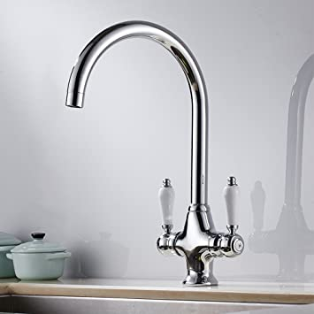 kitchen sink mixer taps traditional monobloc swivel spout twin lever two ceramic handle chrome faucet - Kitchen Sink Mixer Taps