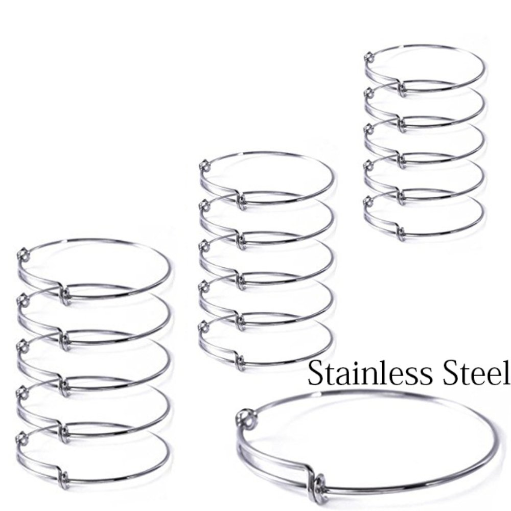 15 Pcs Stainless Steel Expandable Wire Blank Bangle Bracelet for Womens DIY Jewelry Making