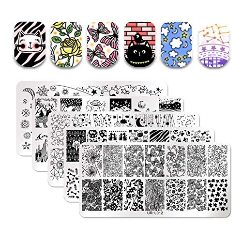 UR SUGAR 5Pcs Nail Art Stamping Plate Kit -Spring Series Flower Animal Pet Dream Cather Butterfly Star Various Natural Patterns for Manicure Print