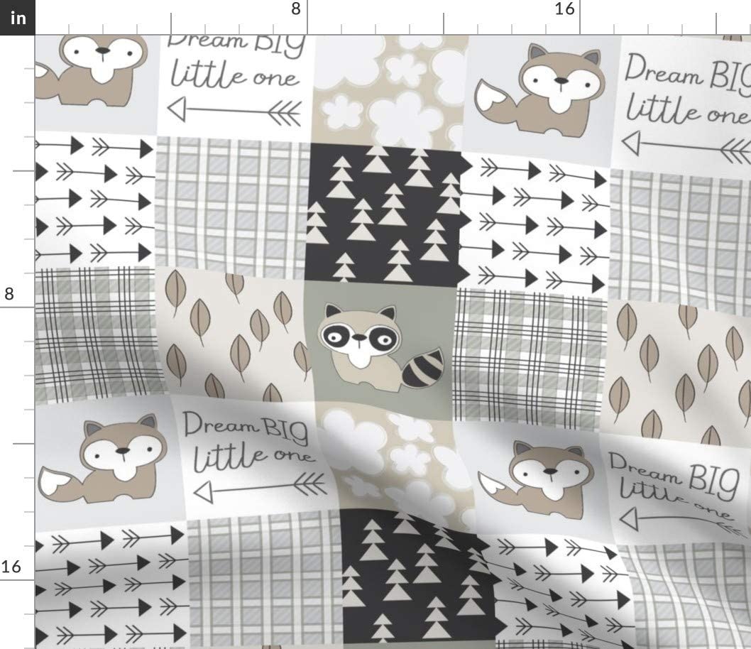 Spoonflower Fabric - Raccoon Fox Wholecloth Neutrals Whole Cloth Baby Quilt Cute Woodland Printed on Petal Signature Cotton Fabric by The Yard - Sewing Quilting Apparel Crafts Decor
