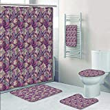 Philip-home 5 Piece Banded Shower Curtain Set Bright Seamless in Paisley Style Decorate The Bath