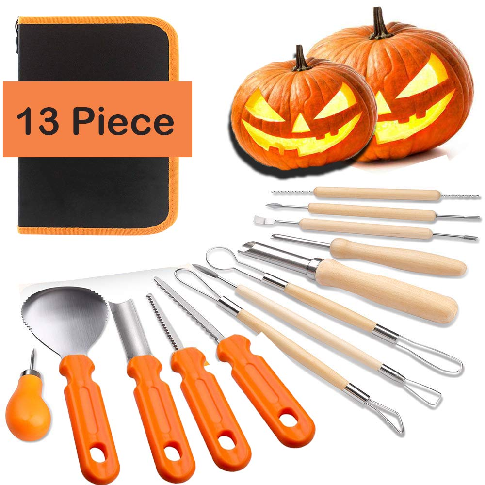 Halloween Pumpkin Carving Tools Kit - 13 Piece Halloween Jack-O-Lanterns Professional Heavy Duty Pumpkin Cutting Carving Knife Supplies Tools with Storage Carrying Case for FamilyKids Adult by GREATFUN