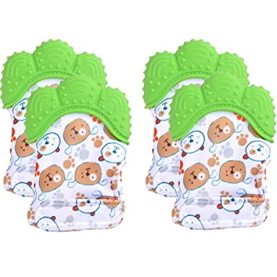 Baby Teething Mitten 2Pairs-Stimulating Teeth Toys for Infant, Avoid Scratching (Green) : Baby