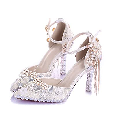 827883fcd924 Image Unavailable. Image not available for. Color  Pointed Toe Ankle Strap  Boots Bridal Shoes Ivory Pearl ...