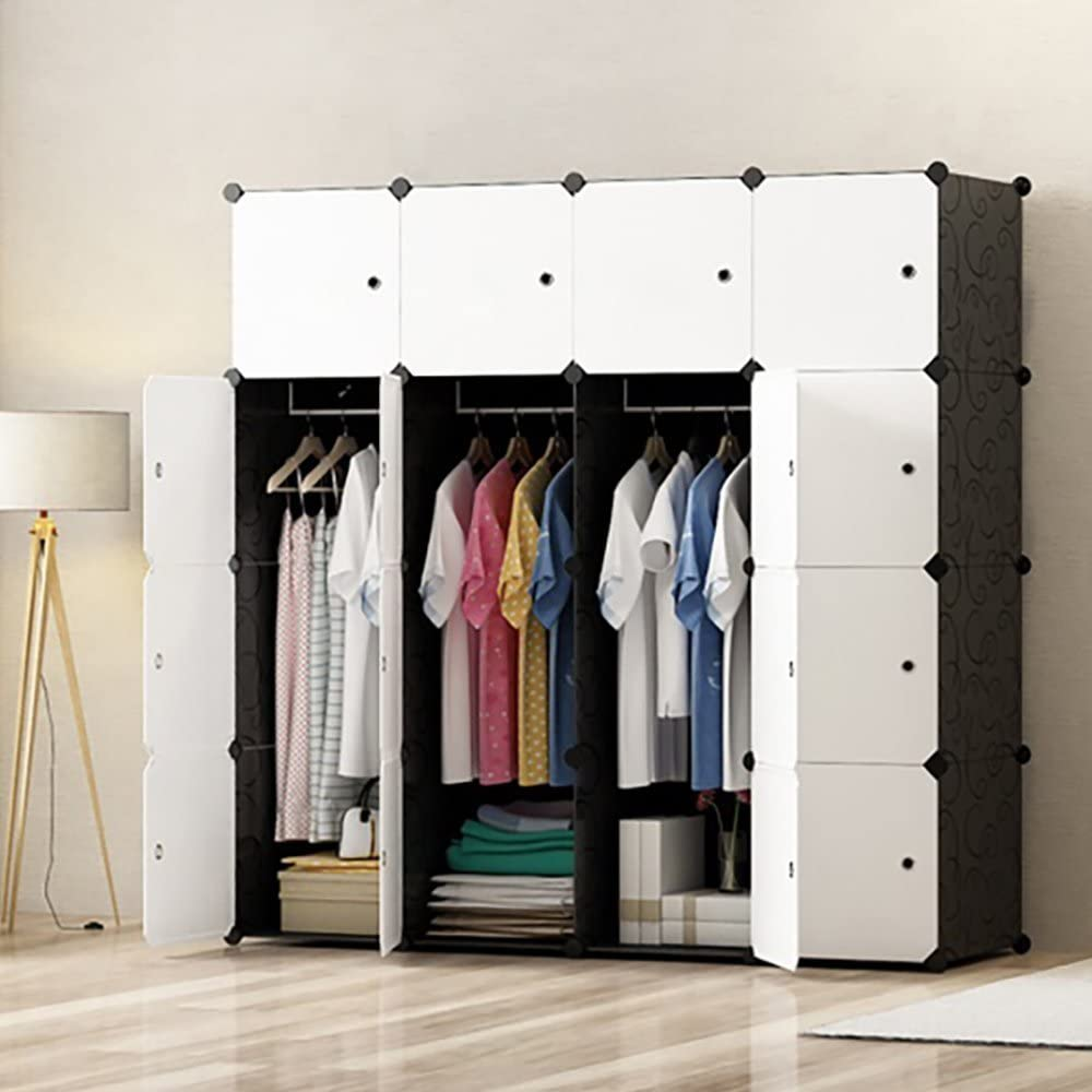 PREMAG Ideal Storage Organizer Cube Closet Portable Wardrobe Combination Armoire, Modular Cabinet for Space Saving(16-Cube)