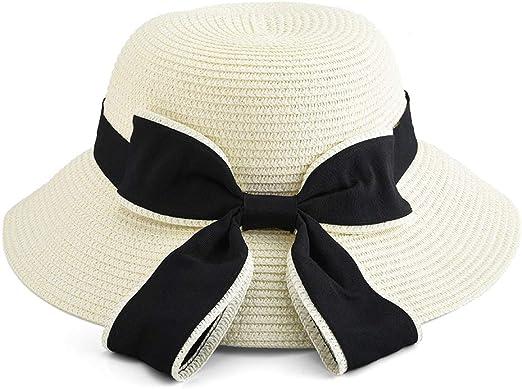Pieghevole Cappello Parasole di Paglia Cappello da Spiaggia Estivo Protezione Anti-UV Eight Space Cappello da Sole da Donna