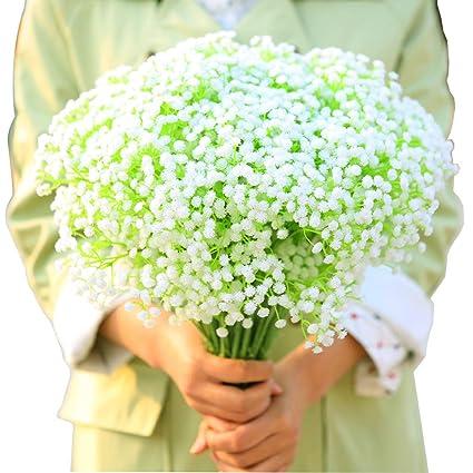 BlueXP 4 Piezas Flores Artificiales Gypsophila Flor de Plástico Babys Breath para Falsa Decoración del Hogar