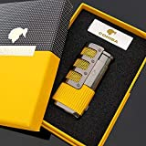 New Black Stripes 3 Torch Jet Flame Cigar Lighter W/Punch Gift Box (Yellow) (yellow)