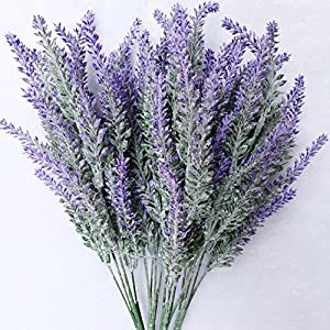 HILINGO 10 Bouquets Artificial Purple Lavender Flower for Home Wedding Party Decoration 11