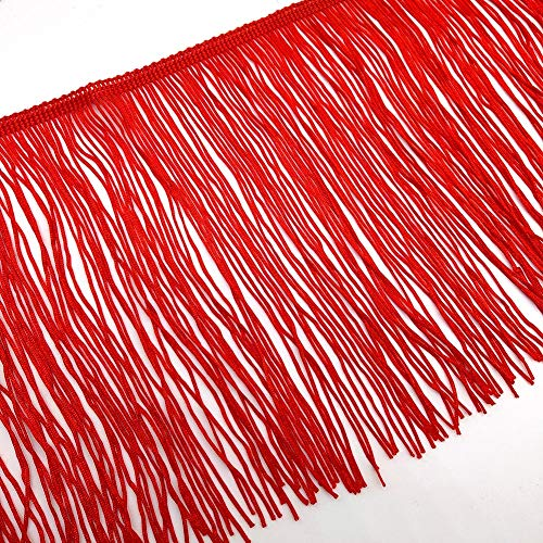 2 Yards Fringe Tassel Trim 20CM Wide Fringe Trim (Red)
