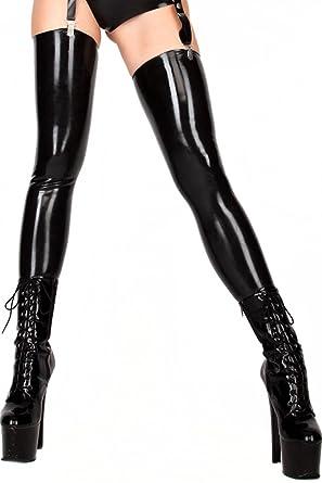 6052b067775608 Amazon.com: Premium Latex Thigh High Stockings - Fetish - Black ...